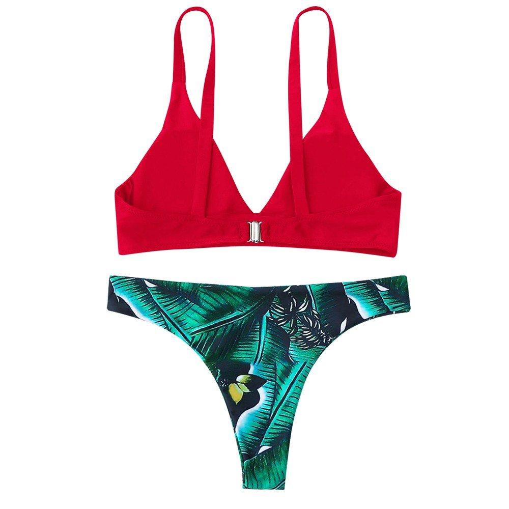 AIni Bikini Damen Set Push Up Für Kleine Brüste Blätter Drucken Schlinge Rückenfrei Süß Bikini Set Strand Sport Frauen Split Badeanzug Z-rot sXHVTNy8 80% AUS