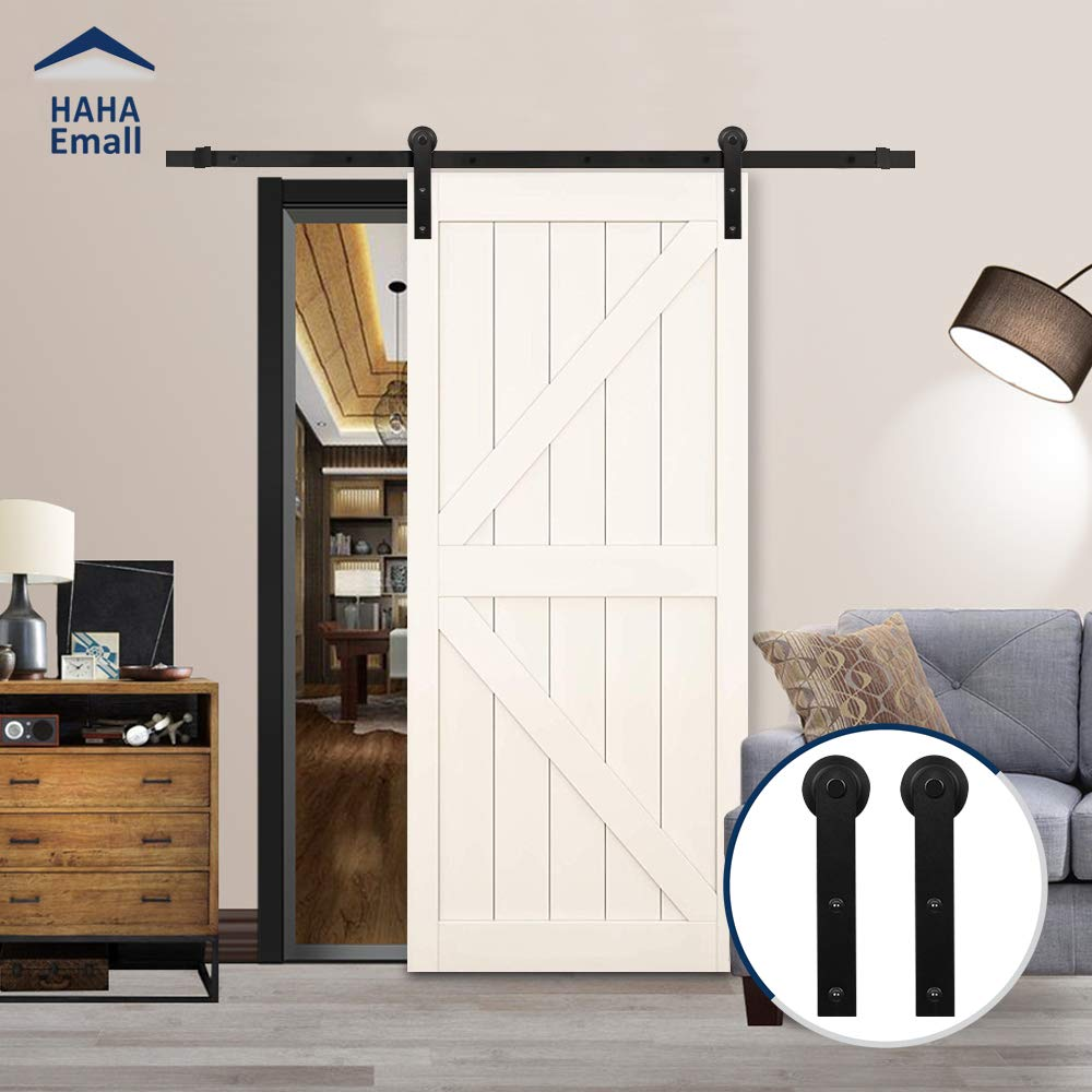 Hahaemall Classic Design 9FT/108'' Single Sliding Barn Door Hardware Cloest Black Metal Rail Heavy Duty (I Shape Hangers)