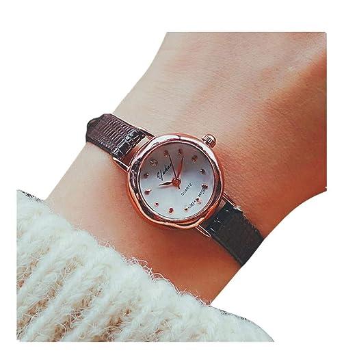 Relojes delicado del reloj del pequeño reloj análogo de cuarzo de las mujeres de negocios (Marrón): Amazon.es: Relojes