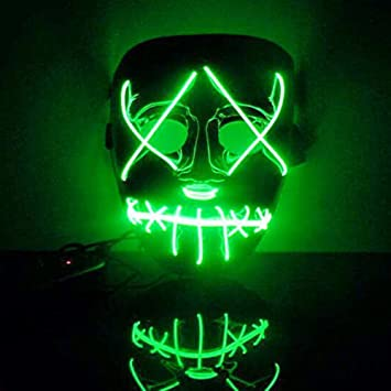 Halloween Luminous EL Wire DJ LED The Purge Movie Party Cosplay Costume Mask