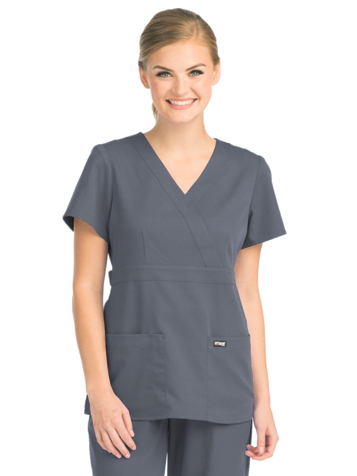 Grey's Anatomy 4153 Women's Mock Wrap Top Granite L