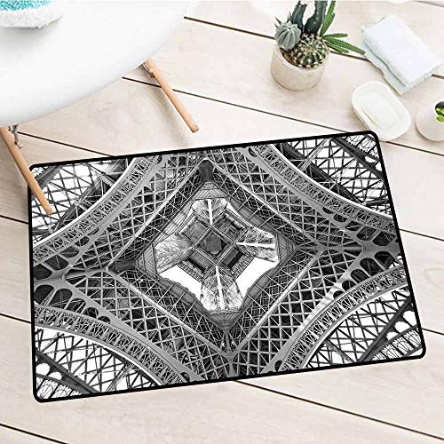 (NineHuiTechnology Oversize Entry Mat, Black and White Decorations, Eiffel Tower View from Below Paris French Monument Image, Grey Black White, 18