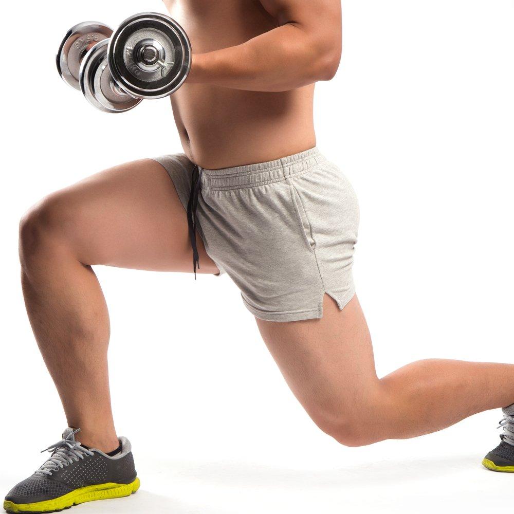 Muscle Aliveメンズワークアウトショーツ3 cm股下95 %コットンテリースパンデックス5 %ポケット付き厚手生地 B073QLJHKX M|グレー グレー M