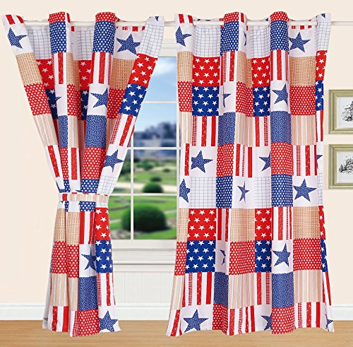 All American Collection New 2pc American Flag Design Printed Bedspread Set w/ Matching Curtains