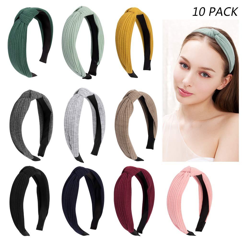Jaciya 10 Pieces Knotted Headbands for Women Turban Headbands for Women Wide Headbands for Women Knot Headband 10 Colors by Jaciya