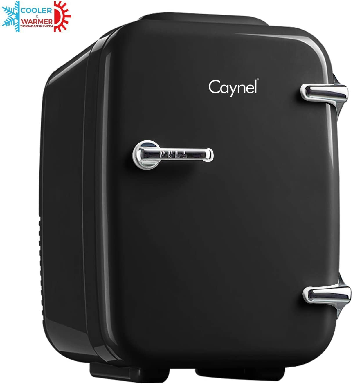 CAYNEL Mini Fridge Cooler and Warmer, (4Liter / 6Can) Portable Compact Personal Fridge, AC/DC Thermoelectric System, 100% Freon-Free Eco Friendly for Home, Office and Car