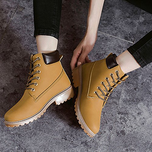 CHNHIRA Unisex Martin Boots Work Shoes Short Ankle Boots Yellow Warm Lining 0r5OnJff