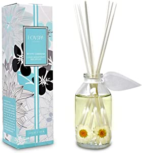 LOVSPA White Gardenia Scented Reed Diffuser Oil and Sticks Gift Set - Floral Aroma of Gardenia with Jasmine Flowers, Red Roses, Wild Violets and Tuberose - Gift Idea for Mom, Made in The USA