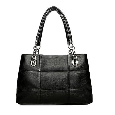 Amazon.com  Voudi Genuine Leather Handbags for Women Top Handle Satchel Handbag  Tote Shoulder Bag Purse Crossbody Bag (Black)  Shoes b17eb470e0924