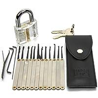 H&S 16 Pcs Practice Lock Pick Padlock Picking Tools Kit Training Set with Transparent Practice Padlock