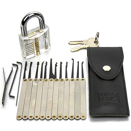 H S 16 Pcs Practice Lock Pick Padlock Picking Tools Kit Training Set