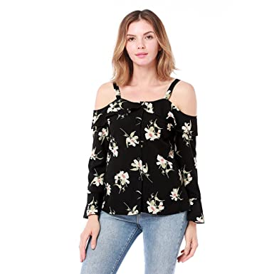 b09705cfe84 Image Unavailable. Image not available for. Color: Womens Ruffle Trim Cold  Shoulder Floral Top Long Sleeve Chiffon Blouse