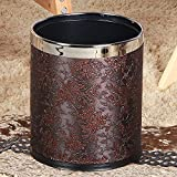 Luxury Double Layer Leather Trash Can with Stainless Steel ring Metal Waste bin 10L garbage container Dustbin case for hotel office (vintage)