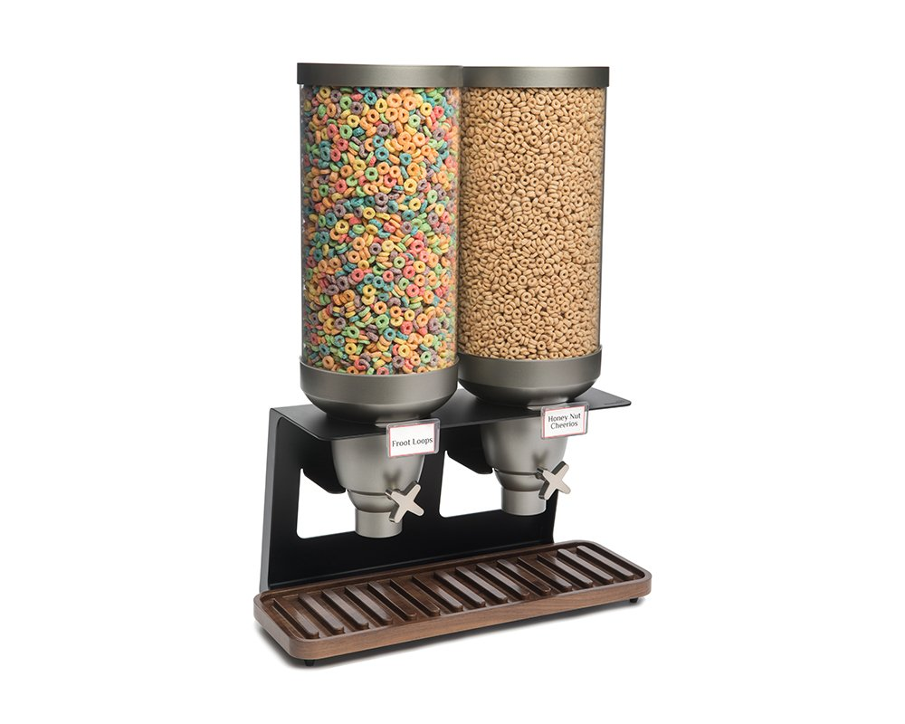Rosseto EZ541 EZ-SERV Double Container XL Table-Top Cereal Dispenser with Walnut Tray, 7-Gallon Capacity, 9-1/4