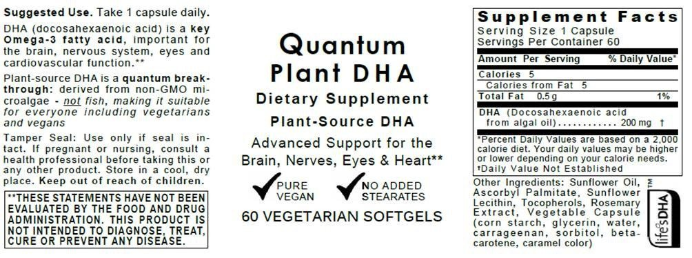Quantum Plant DHA, 120 Vegan Softgels - Plant-Source DHA for Quantum-State Support for The Brain, Nerves, Eyes and Heart