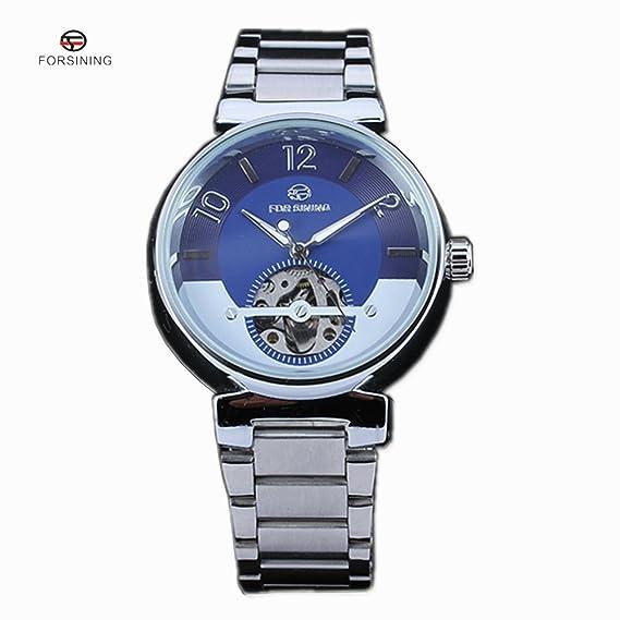 Forsining famoso esqueleto relojes marca lujo hombres del oro mecánico automático esfera azul reloj de pulsera: Amazon.es: Relojes