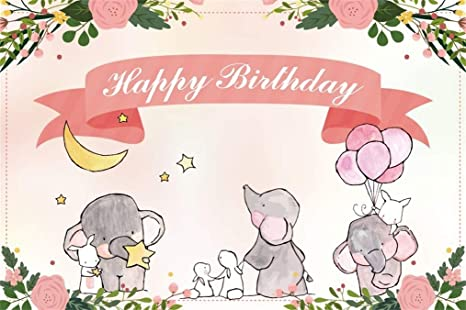 Happy Birthday Background 10x7ft Cute Cartoon Animals Vinyl Photography Backdrop Colorful Blossom Flowers Fox Rabbit Squirrel Deer Baby Kids Boys Girls Party Decor Poster Banner Photo Prop