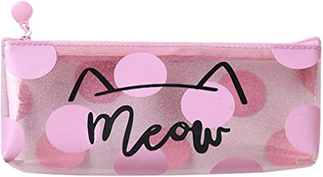 Gbell - Estuche de Lápices para Niñas, Color Rosa, Transparente, Bolsa de Papelería Escolar, Bolsa de cosméticos, Bolsa de Maquillaje, Caja de Lápices para Niños y Adultos, 22 * 8 cm (L*W),