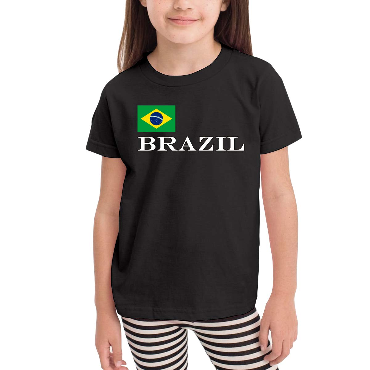 Baby Girls Kids Brazil Flag Soft Short Sleeve Tee Tops Size 2-6