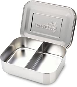 LunchBots Medium Duo Snack Container - Divided Stainless Steel Food Container - Two Sections for Half Sandwich and a Side - Eco-Friendly - Dishwasher Safe - Stainless Lid - All Stainless Steel
