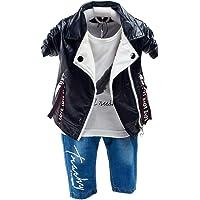 Yao Primavera Otoño Bebé Niños 3pcs Ropa Set Algodón Camisa Jeans Denim Chaleco..