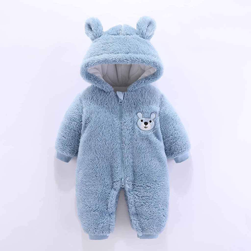 Heberry 0-12 Months Toddler Baby Boys Girls Cartoon Fleece Hooded Romper Jumpsuit
