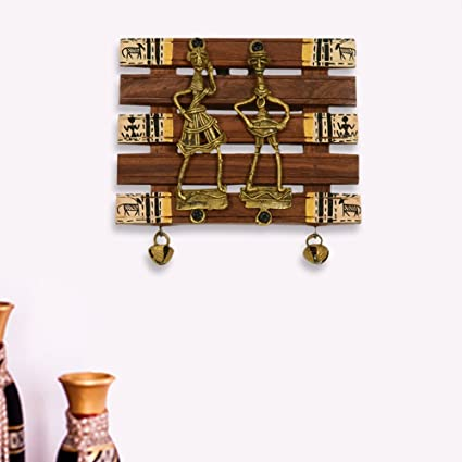 ExclusiveLane Dhokra U0026 Warli Handpainted Wall Hanging Brown  Indian Decorative  Items For Home Dhokra Art