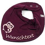 HALSTUCH F/ü/ßchen mit Namen oder Text personalisiert khaki f/ür Baby oder Kind