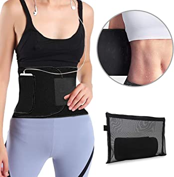 Upgraded Workout Sport Band Youtec Waist Trimmer Stomach Wrap Velco Adjustable Belly Sweat Belt for Women Men with Phone Bag Neoprene Sweat Waist Trainer Belt