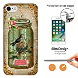 "000541 - Vintage Shabby Chic Victorian Bird Nest Floral Roses Design iphone 7 Plus 5.5"" CASE Ultra Slim Light Plastic 0.3MM All Edges Protection Case Cover-Clear"