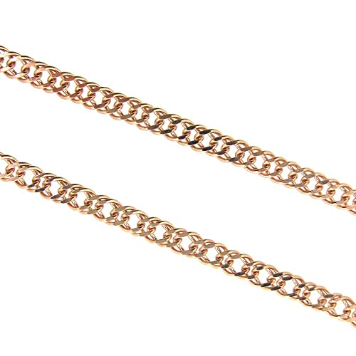 BeadUnion Rose Gold Plated Sterling Silver Double Diamond Cut Curb Necklace Chain