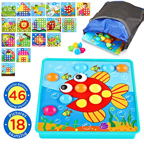 Button Art Toddler Toys Color Matching Mosaic Pegboard Early Learning Educational Baby Toys for 3 4 5 Year Old Boys and Girls 46 PCS Pegs and 18 Templates Travel Game - For Art Toys One Old Year