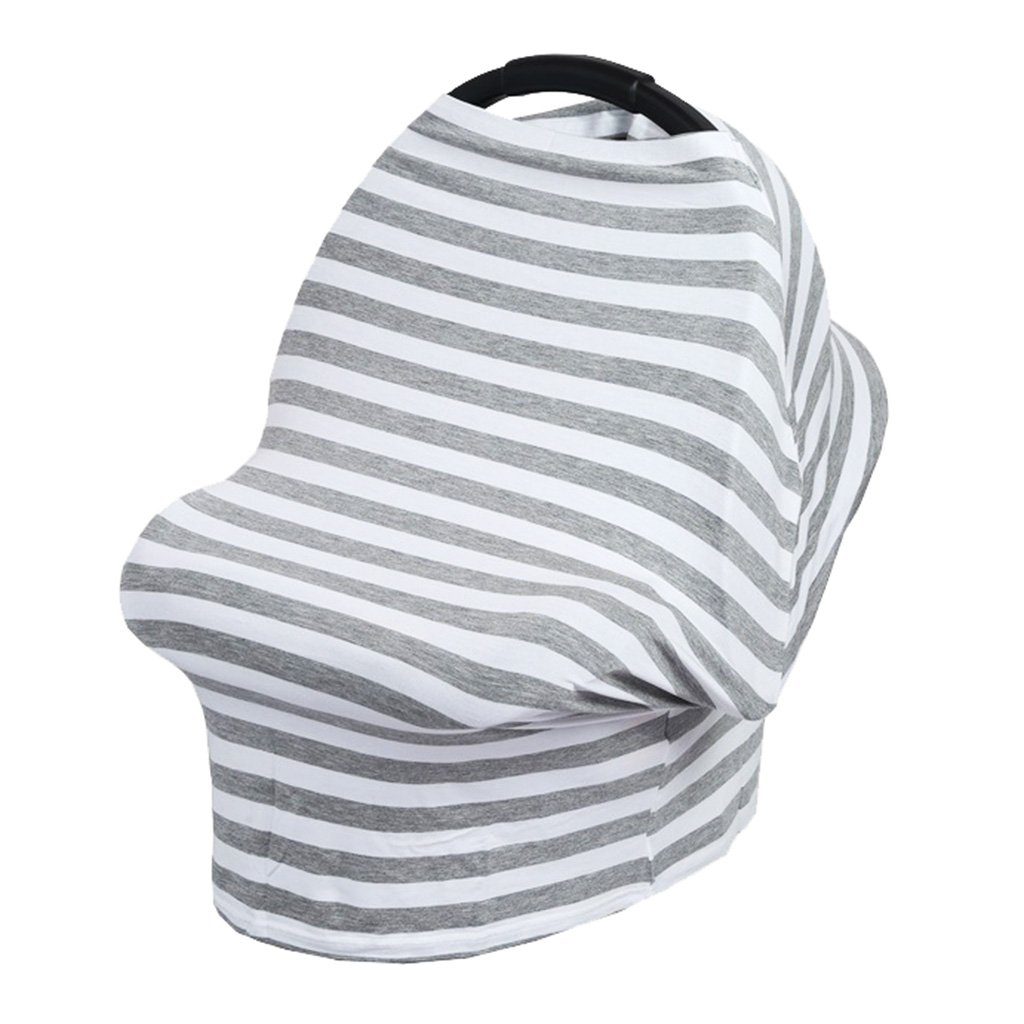 Dolity Nursing Breastfeeding Cover Car Seat Canopy Shopping Cart Chair Stroller as described Ash White Stripe