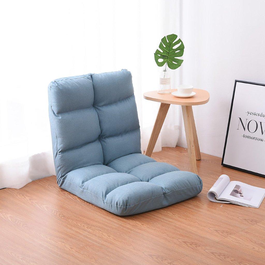 Lake bluee Beanbag Chair Single Sofa Bed Foldable Living Room Floor Lounge Chair Simple Balcony Small Sofa (color   Khaki)