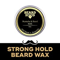 Beardhood 100% Natural Mustache and Beard Wax for Strong Hold, Natural Musky Scent, 30g