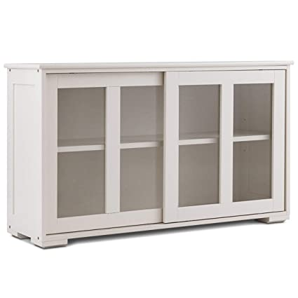 Amazon.com - White Cabinet Sideboard Buffet Cupboard Glass ...