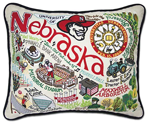 Nebraska Cornhuskers Throw Pillow - catstudio- University of Nebraska Embroidered Throw Pillow - 16