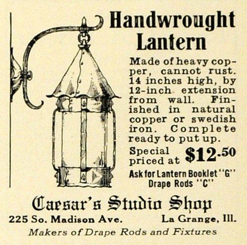 1927 Ad Caesars Studio Shop Handwrought Lantern Household Decor La Grange IL - Original Print - Caesars Gift Shop
