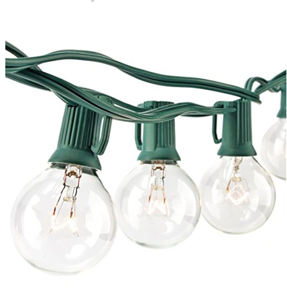 Sunsgne 25Ft Globe String Lights with G40 Bulbs (Plus 2 Extra Bulbs) UL Listed Backyard Patio Lights Garden Party Natural Warm Bulbs Cafe Hanging Umbrella Lights on Light String Indoor Outdoor-Green