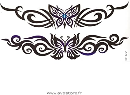Tatuajes temporales mariposa Tribal - Tatuaje efímero mariposa ...