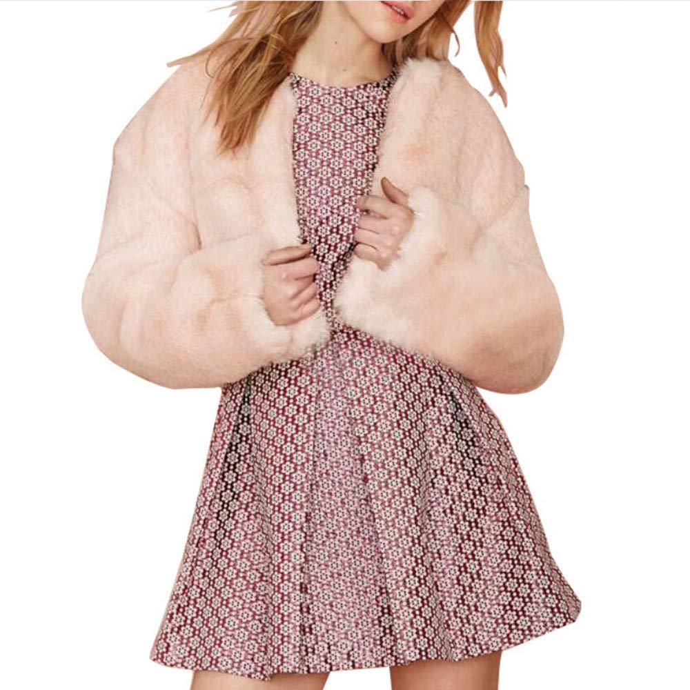 Kemilove Women's Ladies Winter Pink Cute Plush Long Sleeve Jacket