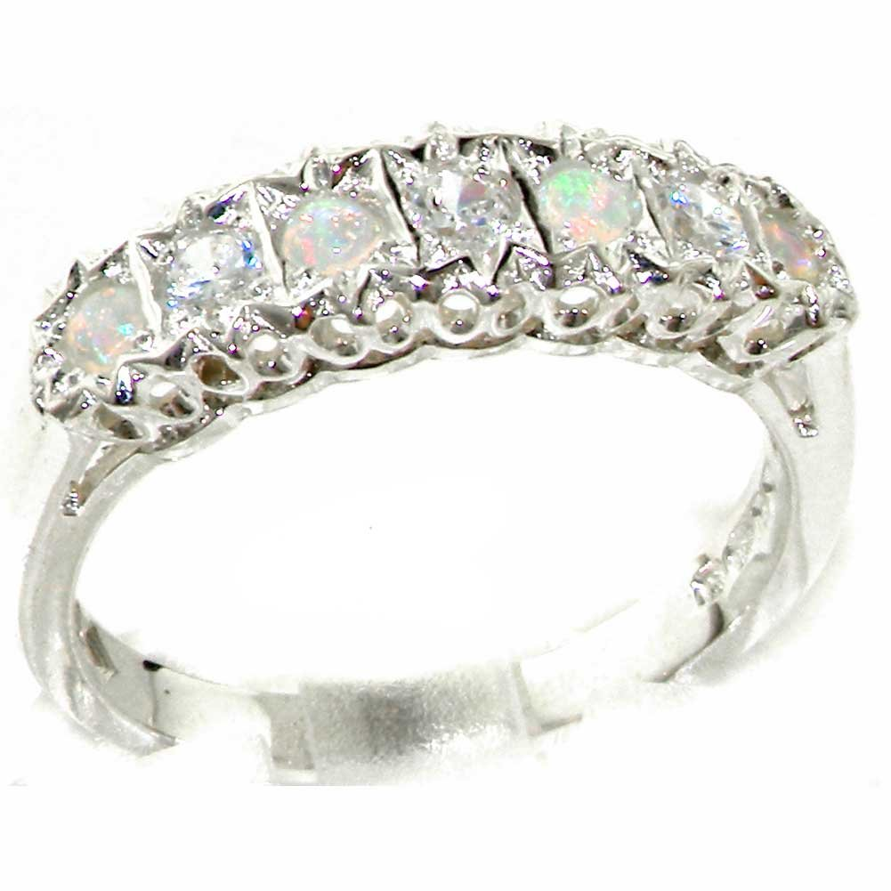 925 Sterling Silver Natural Opal and Diamond Womens Eternity Ring (0.18 cttw, H-I Color, I2-I3 Clarity)