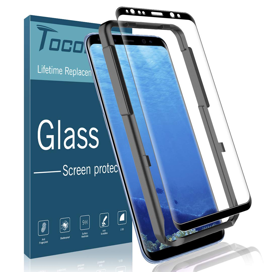 Full Coverage Case Friendly Tempered Glass with Lifetime Replacement Warranty Alignment Frame Easy Installation 3D Curved Screen Protector for Samsung Galaxy S9, MP-MALL 1 Pack