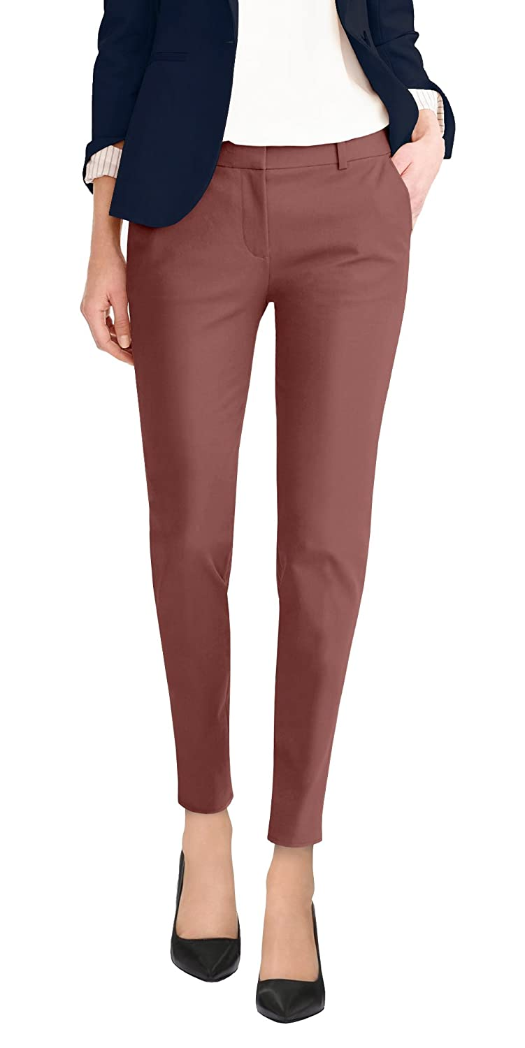 Clay Hybrid & Company Wmens Super Comfy Flat Front Stretch Trousers Pants