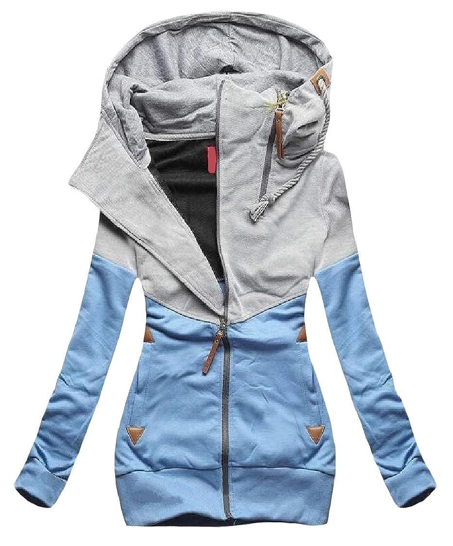 Hajotrawa Women Coat Zipper Contrast Hooded Splice Sweatshirts