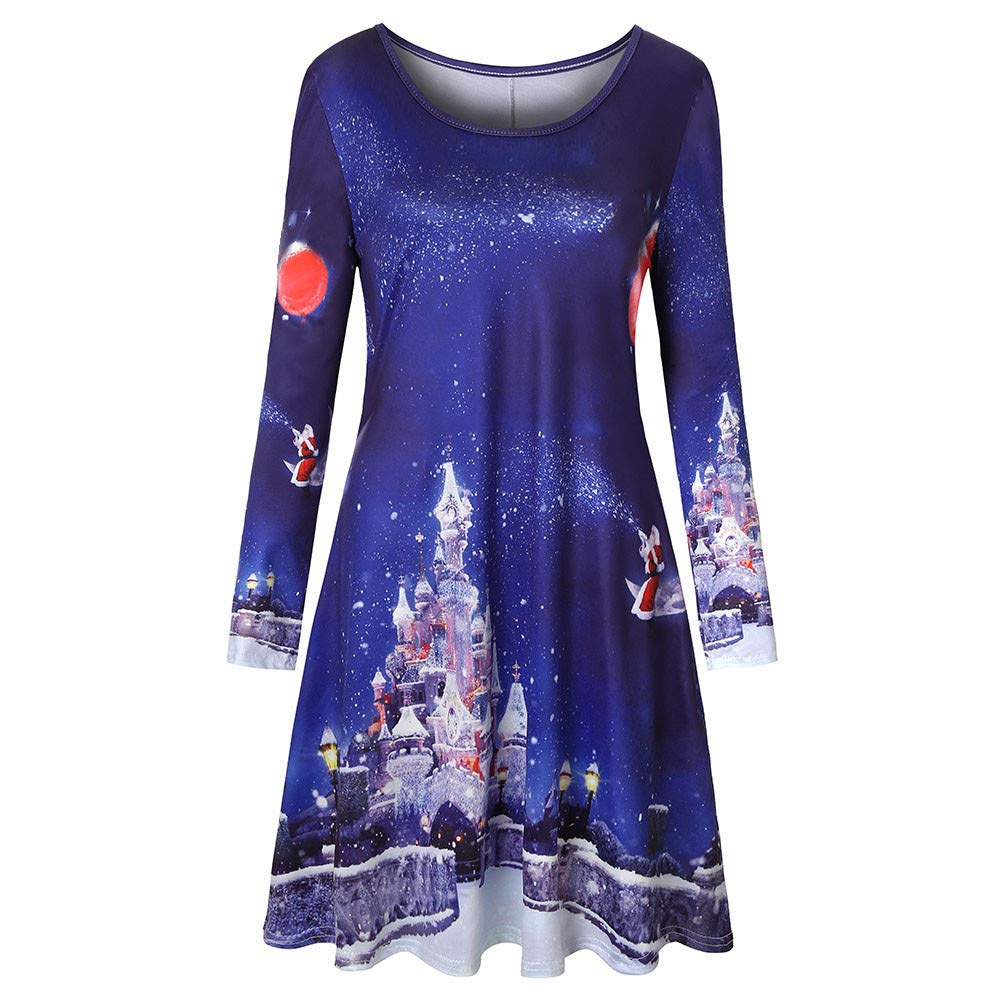 ADESHOP Summer Dresses For Women,, Women Long Sleeve Vintage Xmas Christmas Printing Round Neck Party Dress(Blue, S)