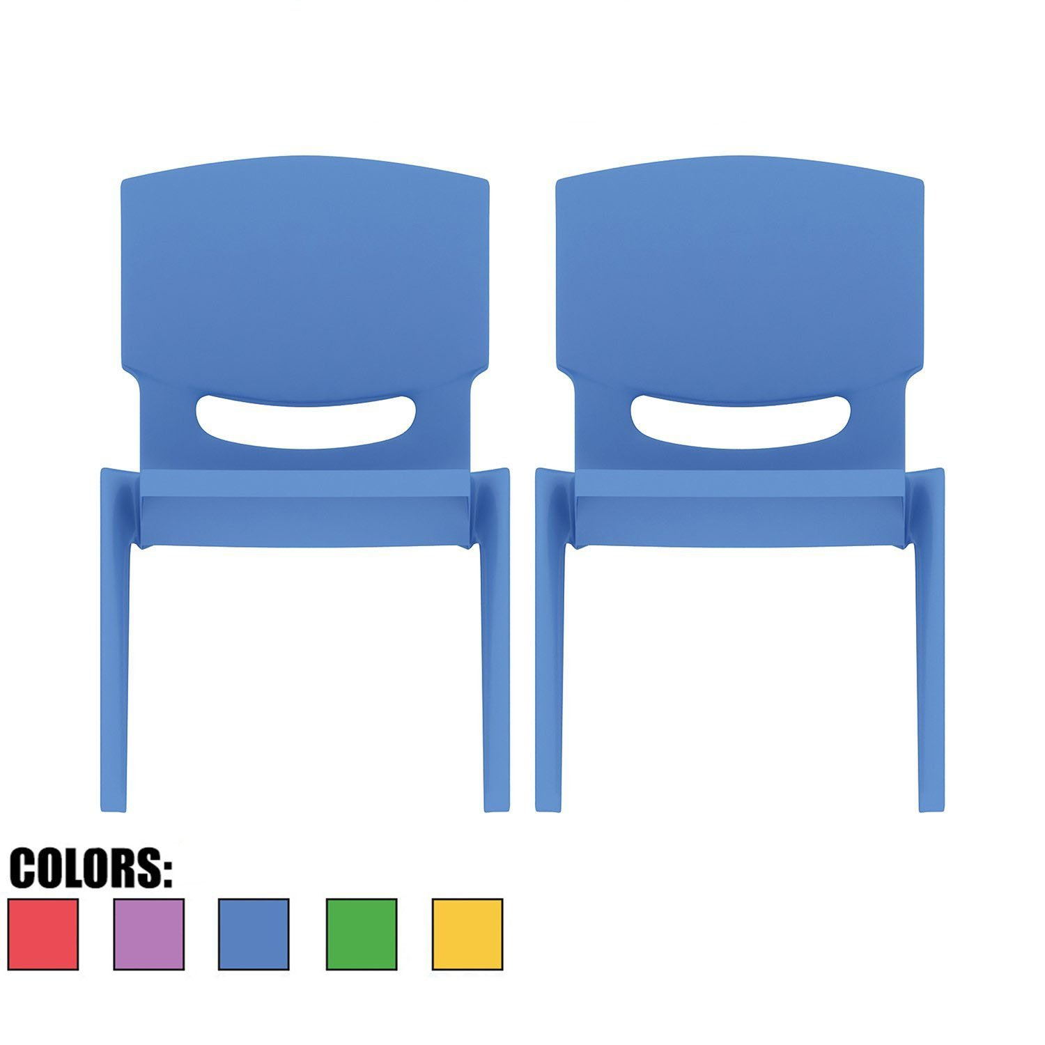 2xhome - Set of Two (2) - Blue - Kids Size Plastic Side Chair 10'' Seat Height Blue Childs Chair Childrens Room School Chairs No Arm Arms Armless Molded Plastic Seat Stackable