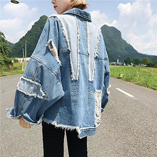 Mezclilla Vaquera Mujer Denim Para Azul Chaqueta Abrigo De Oversized Jacket Chaquetas ntwqHp845X