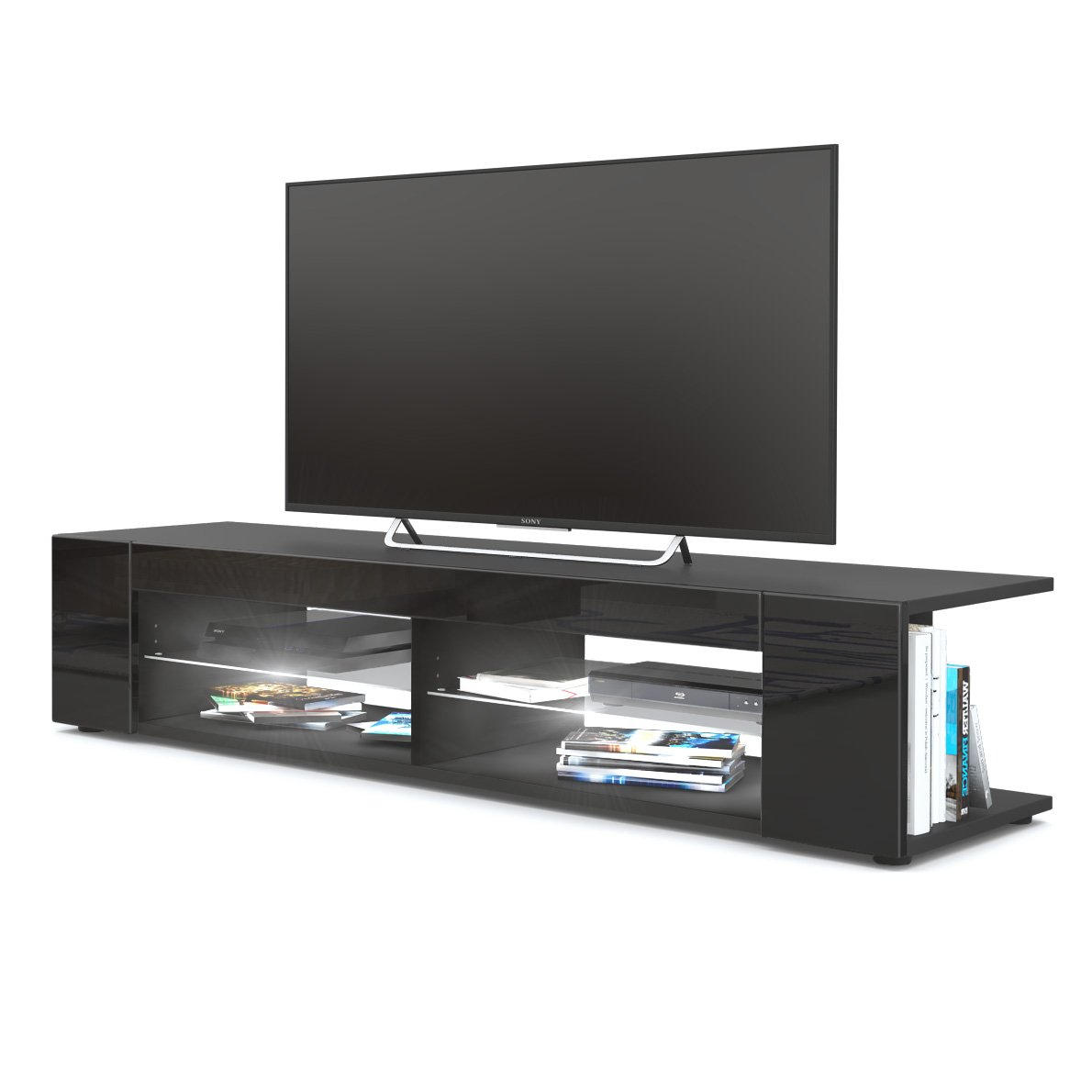 Front in Black High Gloss with LED in White Vladon TV Unit Stand Movie, Carcass in Black matt Front in Grey High Gloss