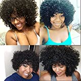 Is Synthetic Afro Curly Hair Wigs For Black Woman Short Kinky Hair Jet Black Heat Resistance Fiber 14 290g